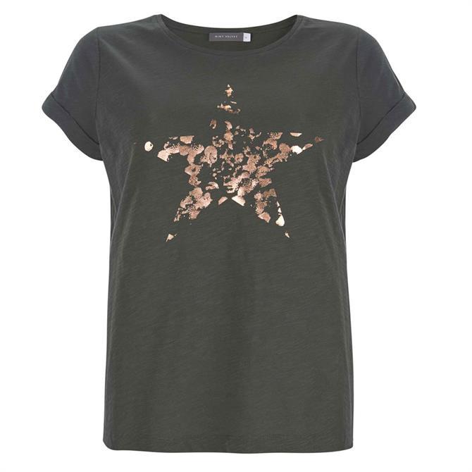 Mint Velvet Khaki Foiled Star T-Shirt