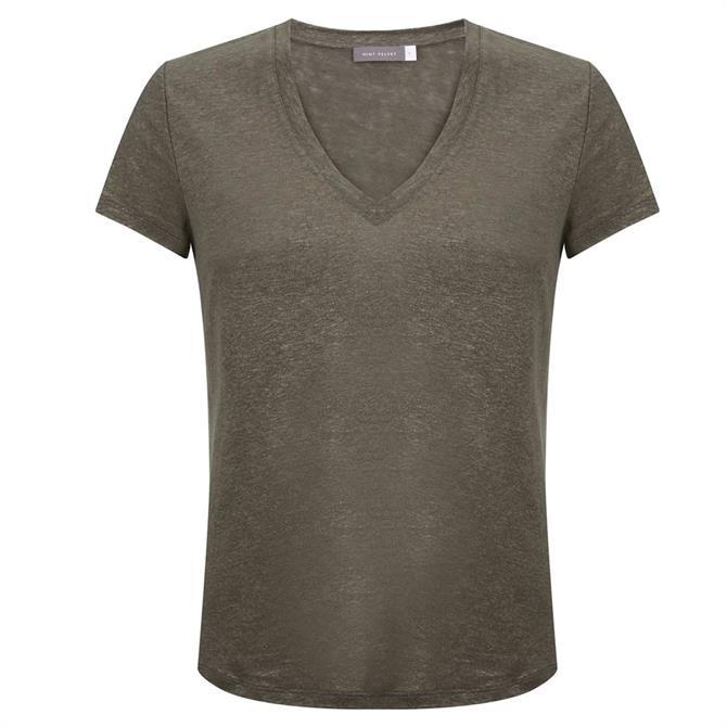 Mint Velvet Khaki Shimmer V-Neck T-Shirt