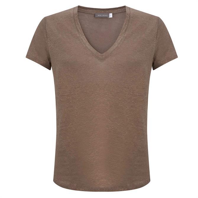 Mint Velvet Mocha Shimmer V Neck T-Shirt