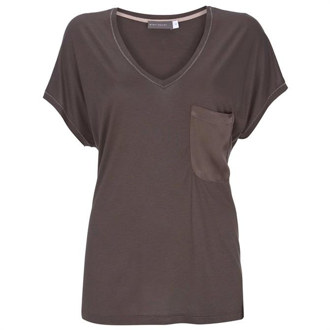 Mint Velvet Mocha Utility Pocket T-Shirt