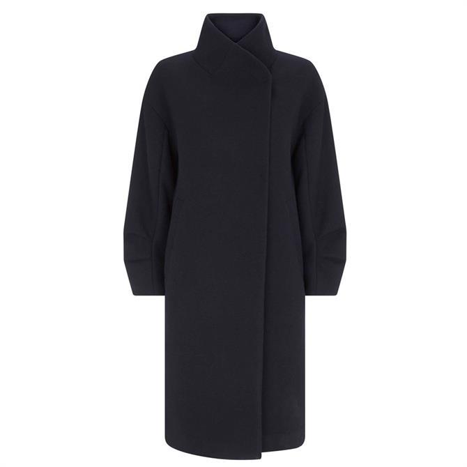Mint Velvet Navy Long Wrap Collar Coat