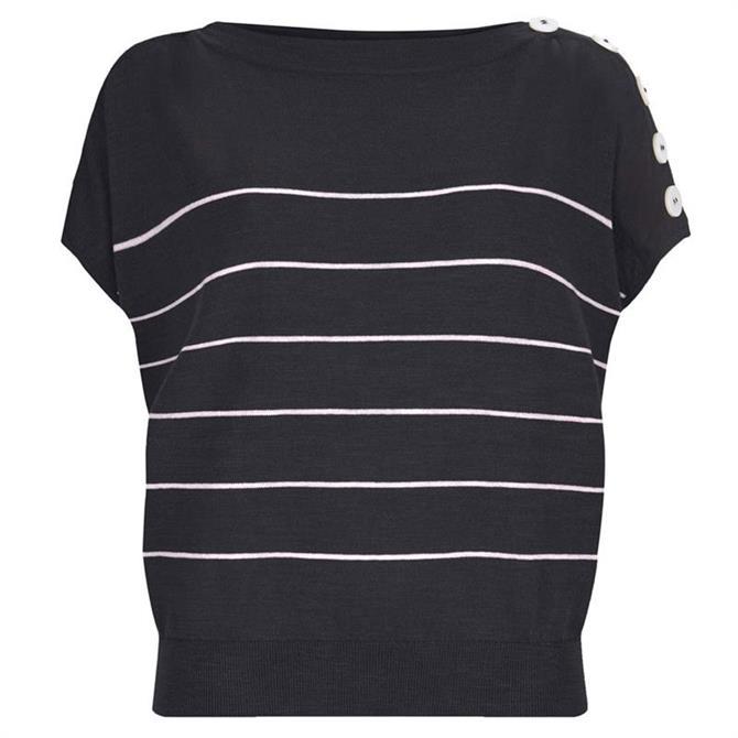 Mint Velvet Navy Striped Batwing T-Shirt
