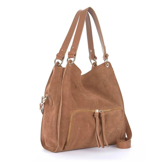 Mint Velvet Nelly Tan Suede Slouch Tote Bag