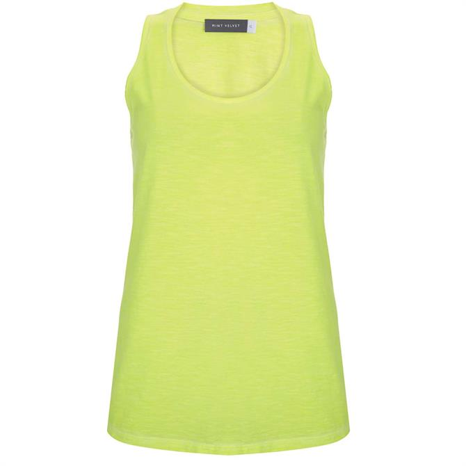 Mint Velvet Neon Yellow Knot Back Vest Top