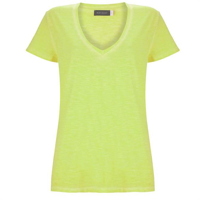 Mint Velvet Neon Yellow V Neck T-Shirt