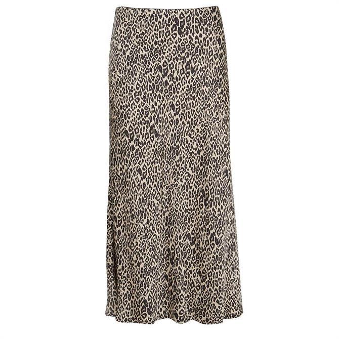 Mint Velvet Neutral Philippa Animal Print Skirt