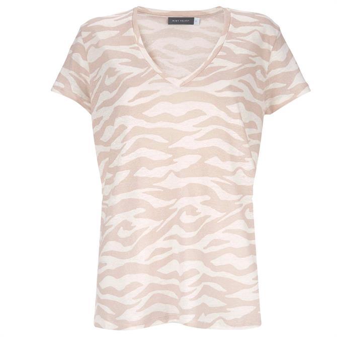 Mint Velvet Neutral Zebra Print T-Shirt