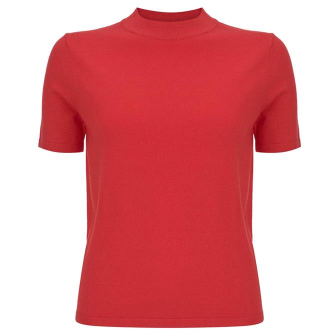Mint Velvet Red High Neck Fitted Top