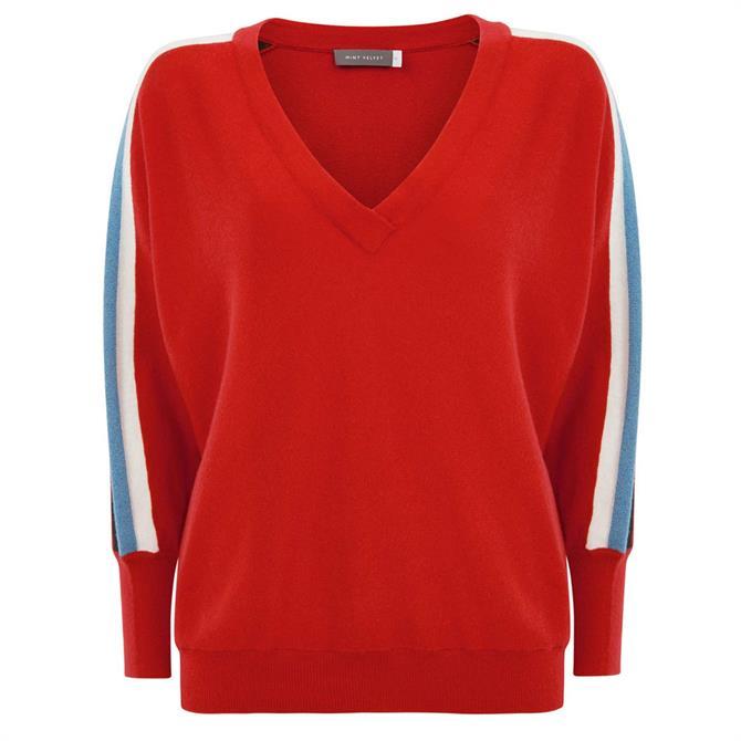 bc9ff577692 Mint Velvet Red Side Stripe V-Neck Jumper