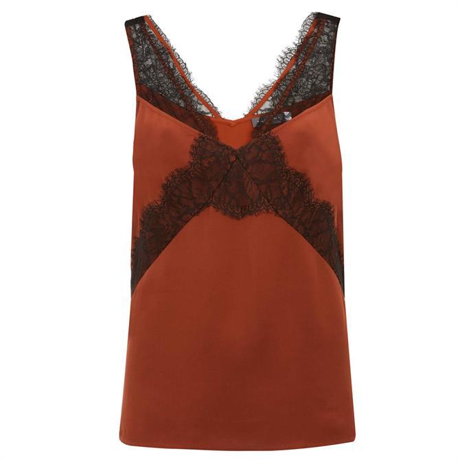 Mint Velvet Rust & Black Lace Strap Cami Vest