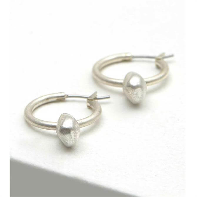 Mint Velvet Silver Tone Nugget Drop Hoop Earrings
