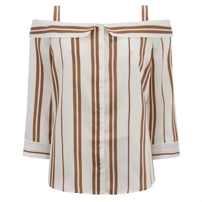 Mint Velvet Striped Cold Shoulder Top