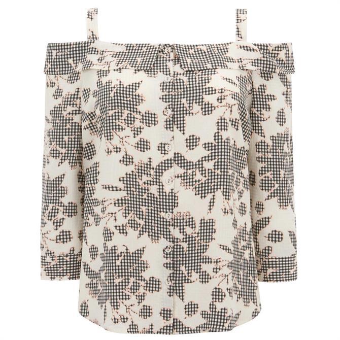 Mint Velvet Suki Print Cold Shoulder Top