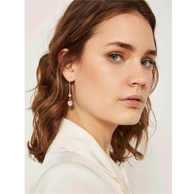 Mint Velvet Silver Tone Twin Drop Earring