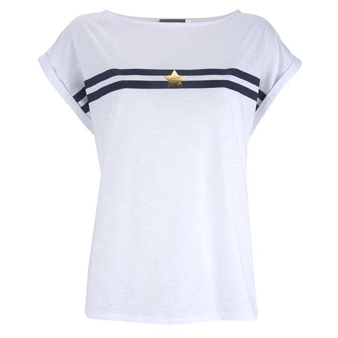 Mint Velvet White Varsity Star Stripe T-Shirt