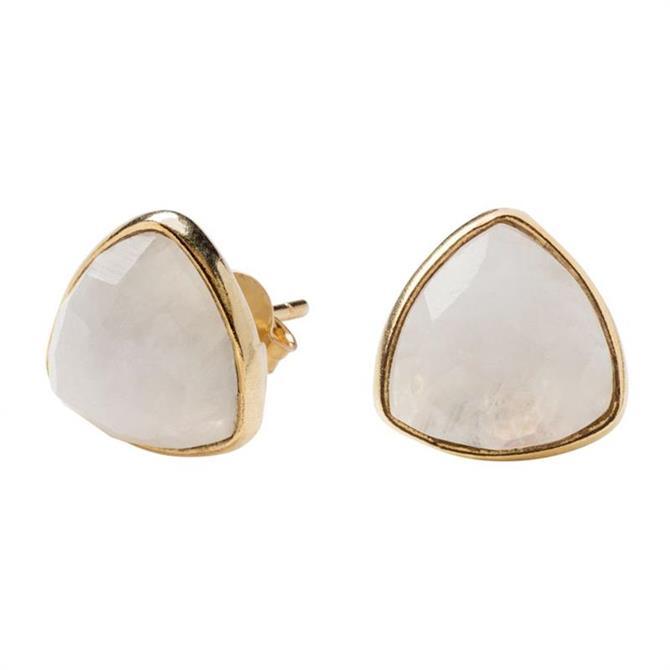 Mirabelle Trillion Moonstone Stud Earrings