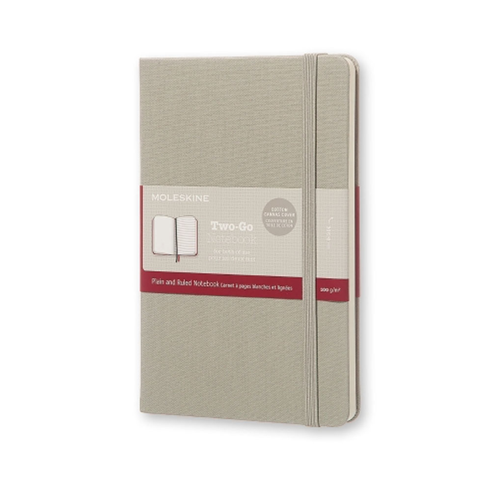 An image of Moleskine Two Go Medium Ruled Plain Notebook - ASH GREY
