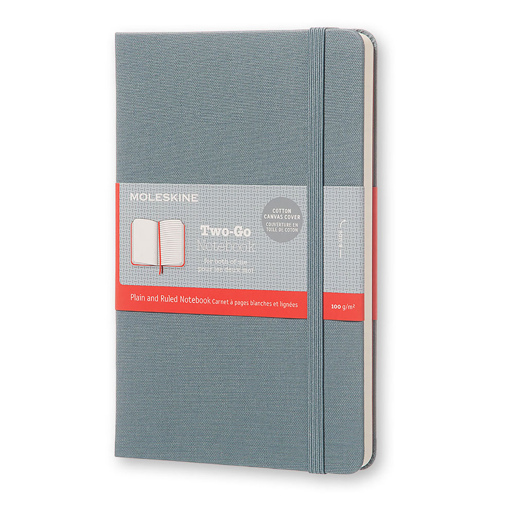 An image of Moleskine Two Go Medium Ruled Plain Notebook - SAXE BLUE