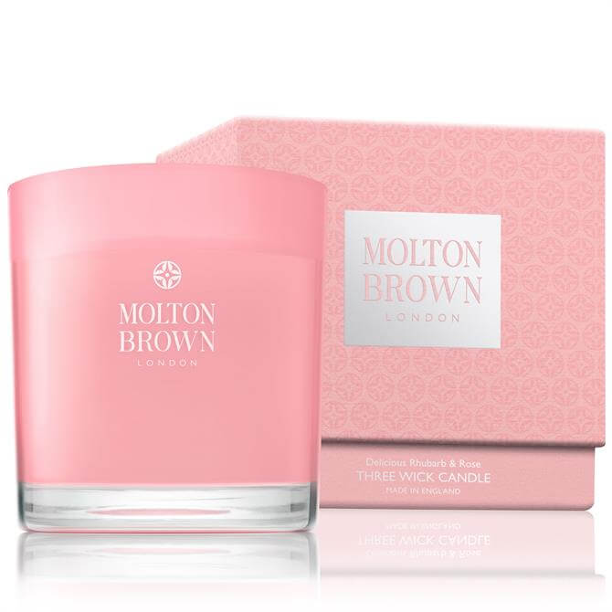 Molton Brown Three Wick Rhubarb and Rose Candle