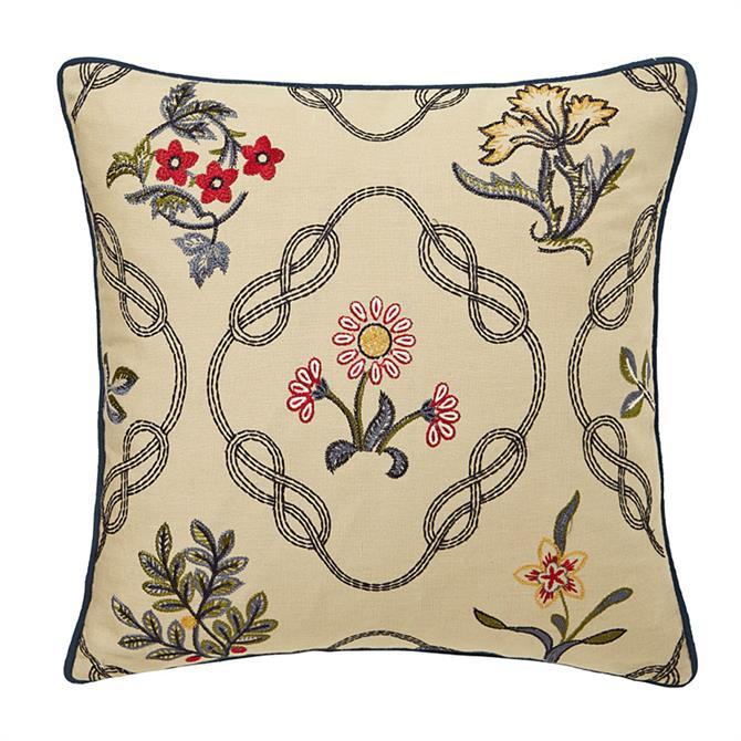 William Morris Strawberry Thief Kelmscott Trellis Cushion: Indigo