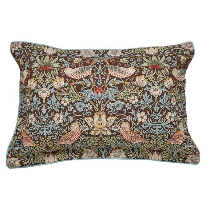 Morris & Co Strawberry Thief Brown Oxford Pillowcase
