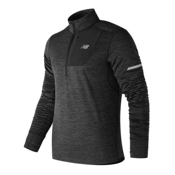 New Balance Men's Heat Quarter Zip Running Long Sleeve Top - Heather