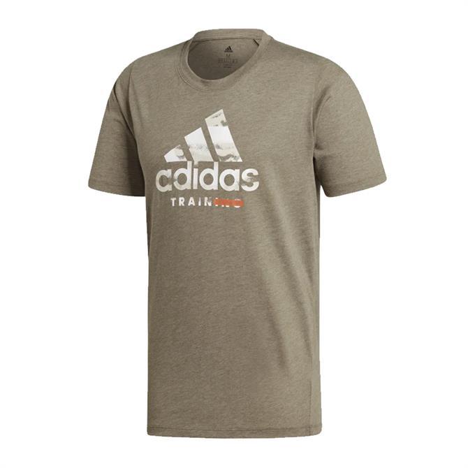 Adidas Men's Freelift 360 Graphic Logo T-Shirt - Raw Khaki
