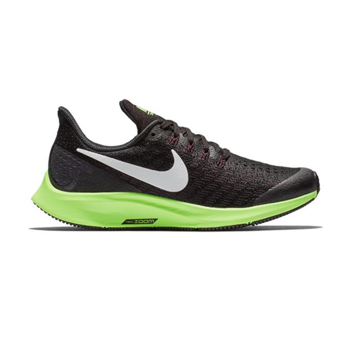Nike Junior Air Zoom Pegasus 35 Running Shoe (GS) - Black/Ash Lime