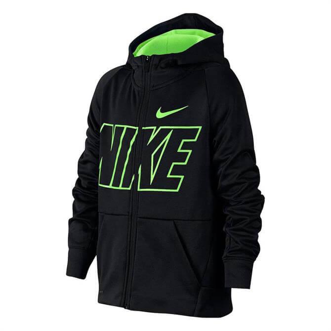 Nike Junior Therma Fitness Hoodie - Black Lime