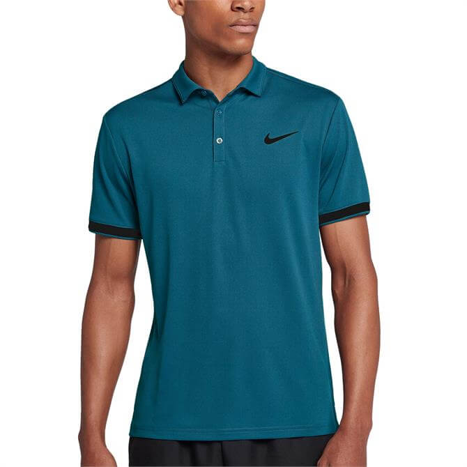 Nike Men's Court Dry Team Tennis Polo- Green Abyss