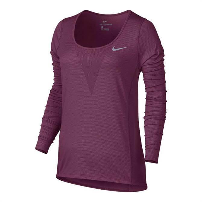 Nike Women's Zonal Cooling Relay Top- Tea Berry