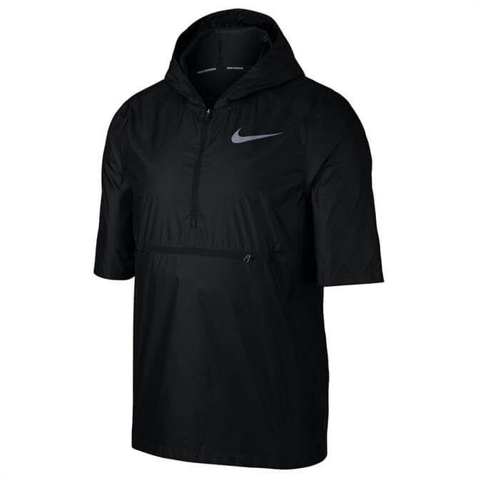 Nike Men's Shield Short Sleeve Running Jacket- Black