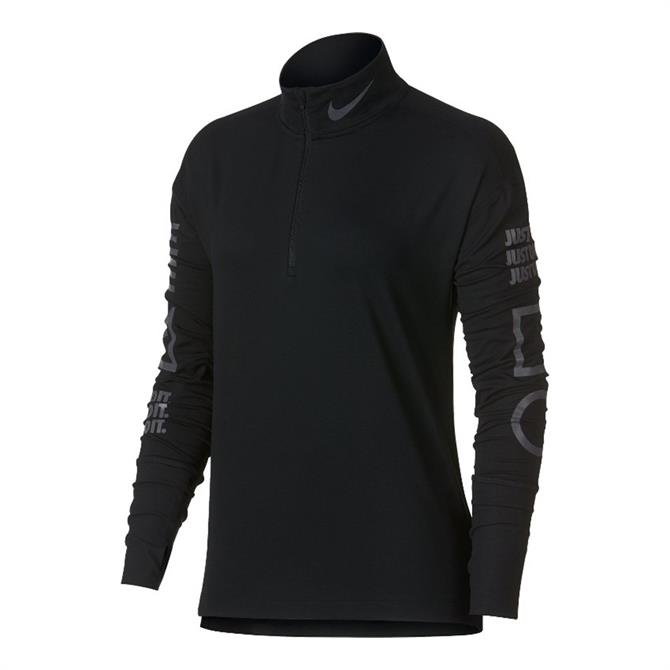 Nike Women's Dri-FIT Element Longsleeve Running Top- Black Thunder