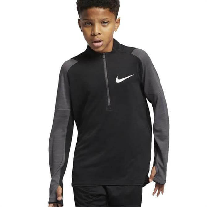 Nike Junior Dri-FIT Long Sleeve Running Top - Black Thunder