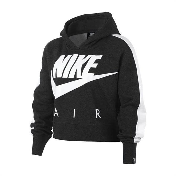 Nike Junior NSW Cropped Hoodie - Black/White