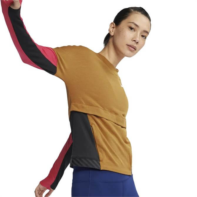 Nike Women's Therma-Sphere Long Sleeve Running Top -  Wheat Black