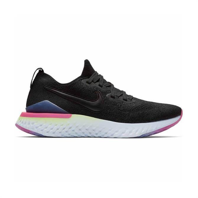 Nike Women's Epic React Flyknit 2 Running Shoe - Black Sapphire Lime