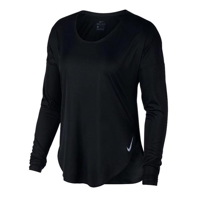 Nike Women's City Sleek Long Sleeve Running Top - Black