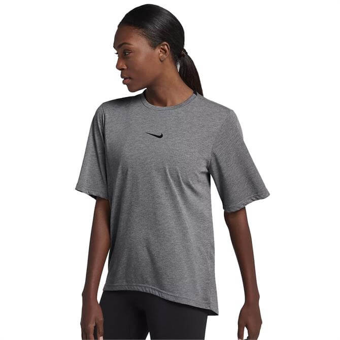 Nike Women's Dry Short Sleeve Performance Top - Carbon Heather