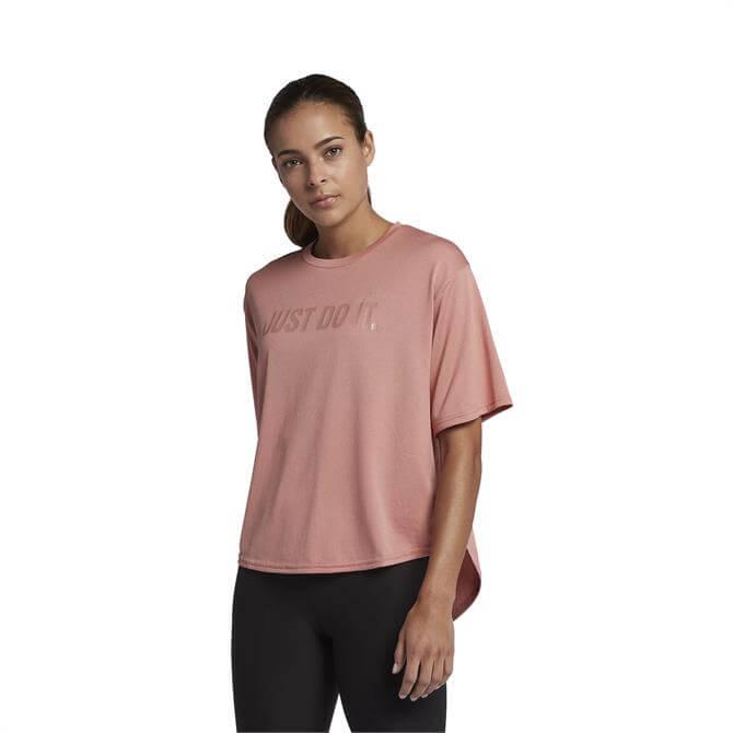 Nike Women's Dri-FIT Short-Sleeve Training Top- Rust Pink