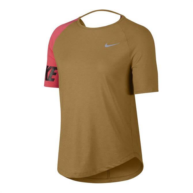Nike Women's Miller Short Sleeve Running Top - Wheat Ember