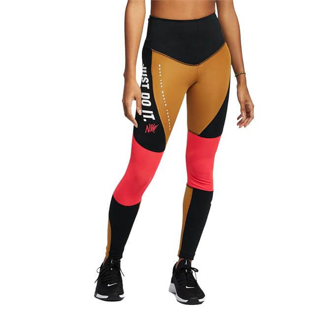Nike Women's Power Graphic Fitness Tights - Wheat Black