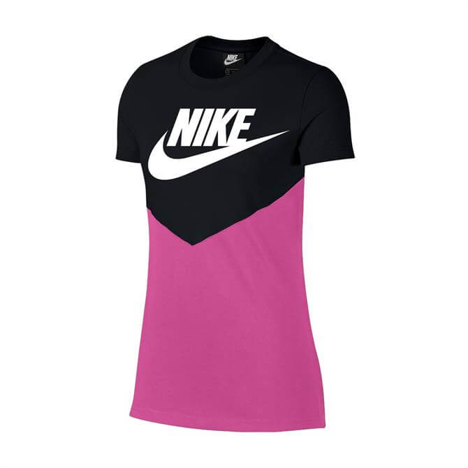 Nike Women's Heritage Vintage Short Sleeve T-Shirt - Black/Active Fuchsia