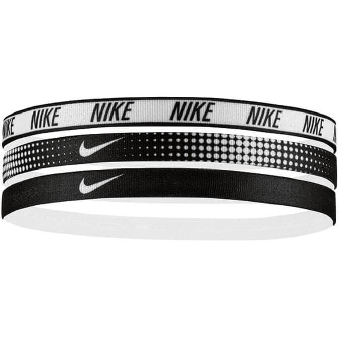 Nike Printed Sports Stripe 3 Pack Hairbands- White/Black