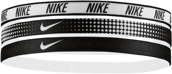 An image of Nike Printed Sports Stripe 3 Pack Hairbands- White/Black - OS, WHITE/BLACK/WHITE