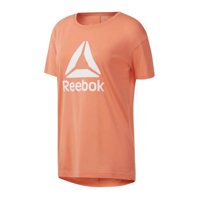Reebok Women's WOR Logo Running Short Sleeve T-Shirt - Stellar Pink