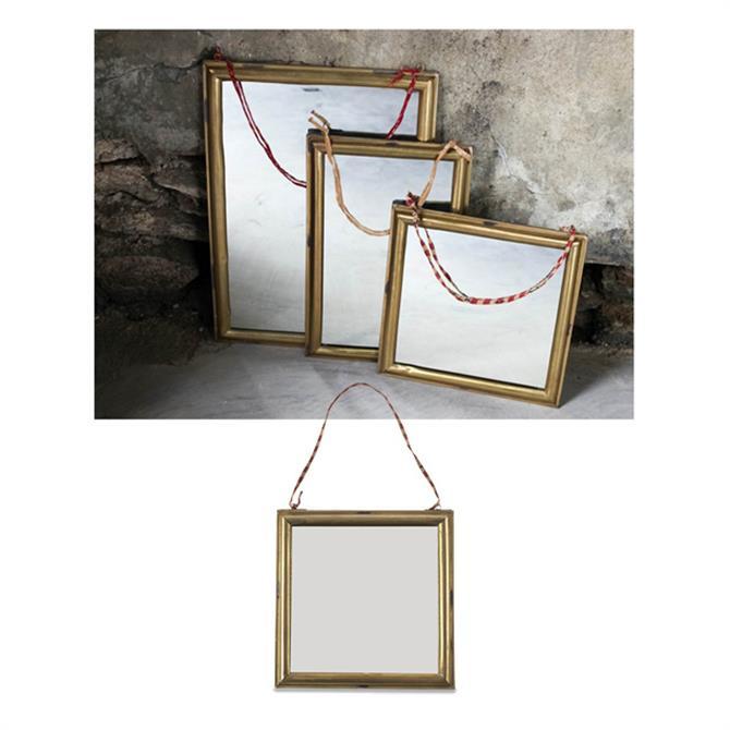 Nkuku Small Kariba Antique Brass Mirror