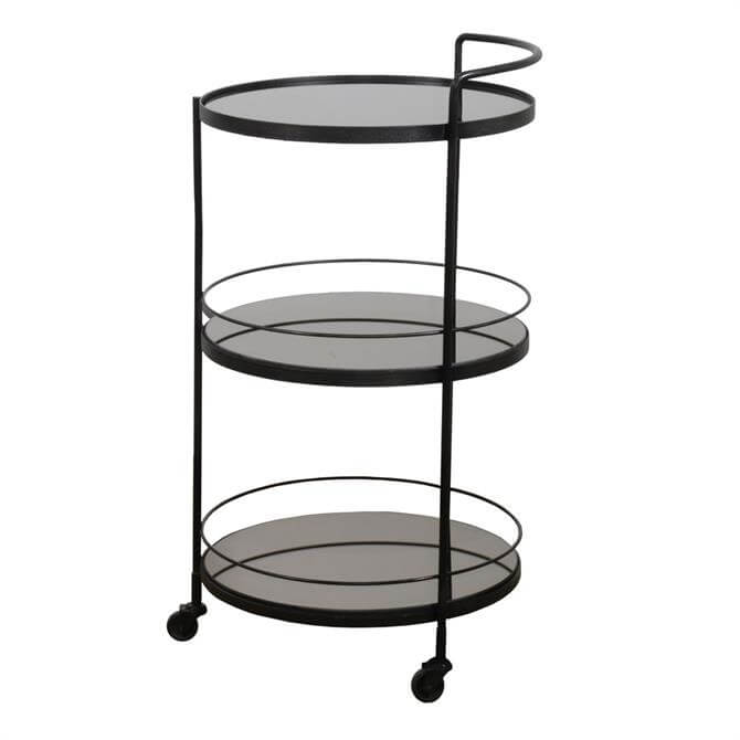 Notre Monde Lucy Bar Cart Three Tier Mirror Shelves
