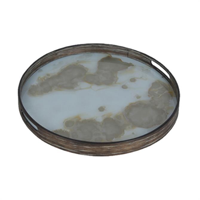 Notre Monde Gold Mist Organic Glass Tray Round Small