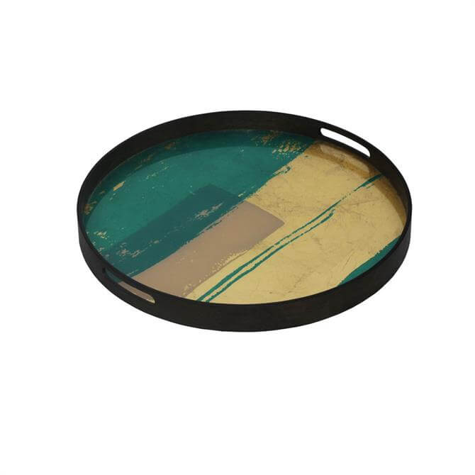 Notre Monde Turquoise Bright Abstract Glass Tray Small
